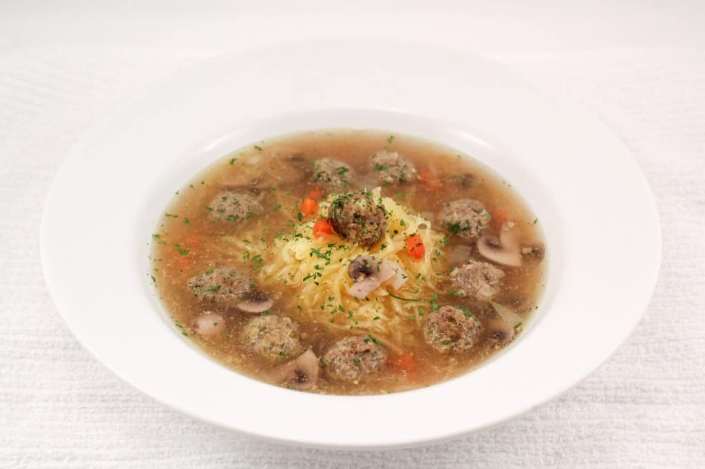 meatball noodle soup centered