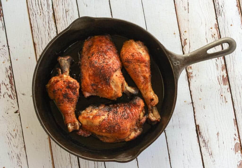 cast iron crispy chicken thighs and legs