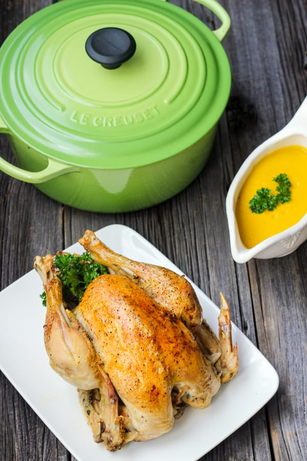 Perfect Roast Chicken with Vegetable Gravy and LeCreuset Giveaway - Health Starts in the Kitchen