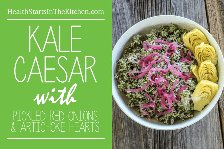 Kale Caesar Salad with Pickled Red Onions and Artichoke Hearts