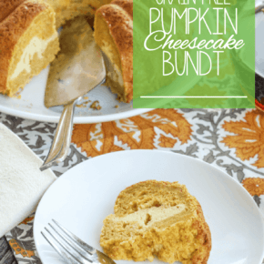 I'm pretty sure the only thing better than the fall flavors of pumpkin is pairing them with the creaminess of cheesecake. This quick and easy Grain Free Pumpkin Cheesecake Bundt Cake is full of pumpkin flavor sandwiching a layer of maple sweetened cheesecake filling, it's perfect for those of you who are gluten-free or primal.