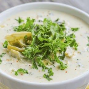 Cream of Artichoke and Kale Soup - Low Carb - www.HealthStartsintheKitchen.com