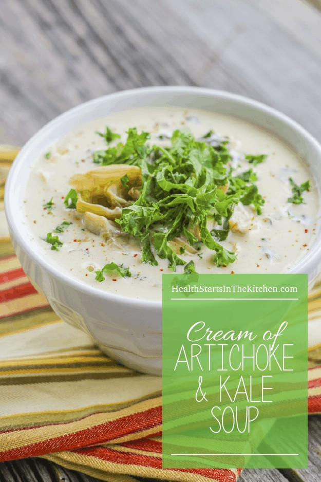 Cream of Artichoke and Kale Soup - Grain/Gluten-Free & Low Carb - www.HealthStartsintheKitchen.com