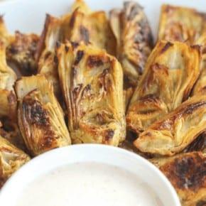 Crispy {Baked} Artichoke Hearts with Horseradish Aioli {Low-Carb, Paleo, Grain & Gluten-Free, Real Food, Dairy-Free, Vegetarian}