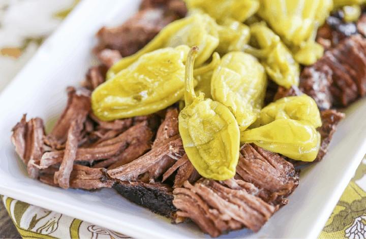 {2 Ingredient} Slow Cooker Peperoncini Beef Roast - Paleo & Low Carb