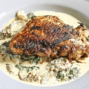 Crispy Chicken Thighs with Morel Mushroom, Ramp and Kale Cream Sauce {Low-Carb & Primal}