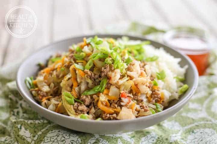 Pork, Shrimp & Shiitake Cabbage Bowls {Grain & Gluten Free, Paleo Friendly}