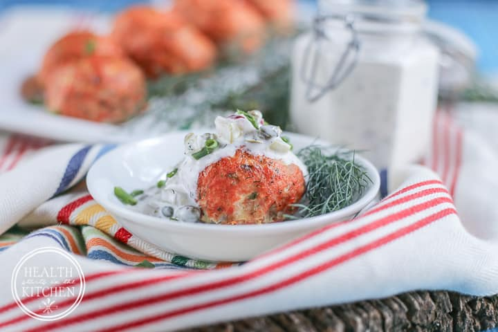 Salmon Meatballs with Caper Dill Tarter Sauce {Grain & Gluten-Free, Paleo and 21DSD friendly} - Health Starts in the Kitchen