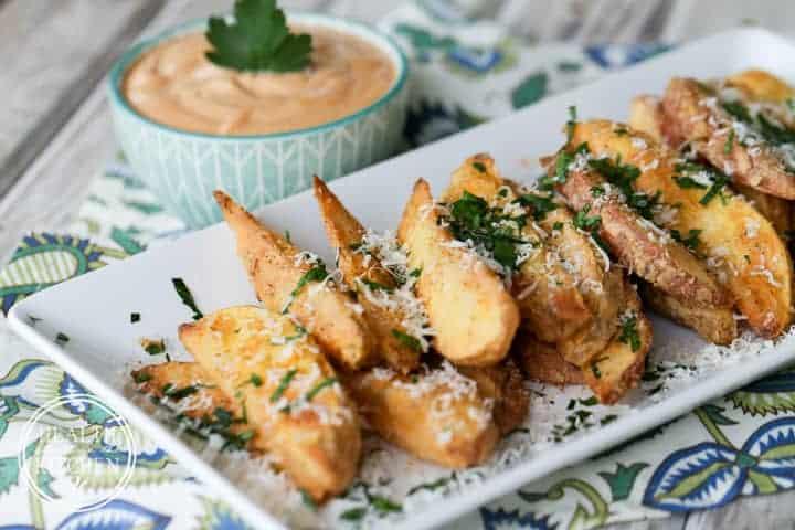 Crispy Baked Potato Wedges {Grain & Gluten Free} served with Creamy BBQ Dip