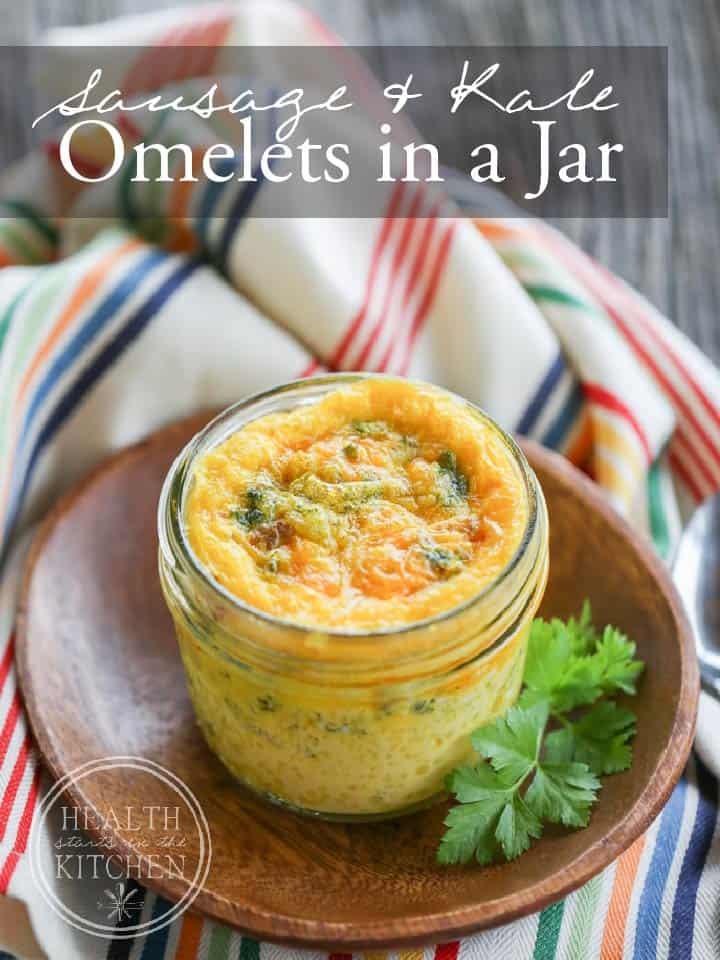 Sausage & Kale Omelets in a Jar {Bake & Take Breakfast}