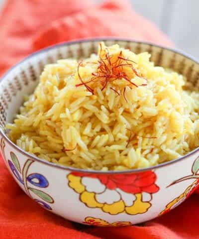 5 Minute {Pressure Cooker} Saffron Rice