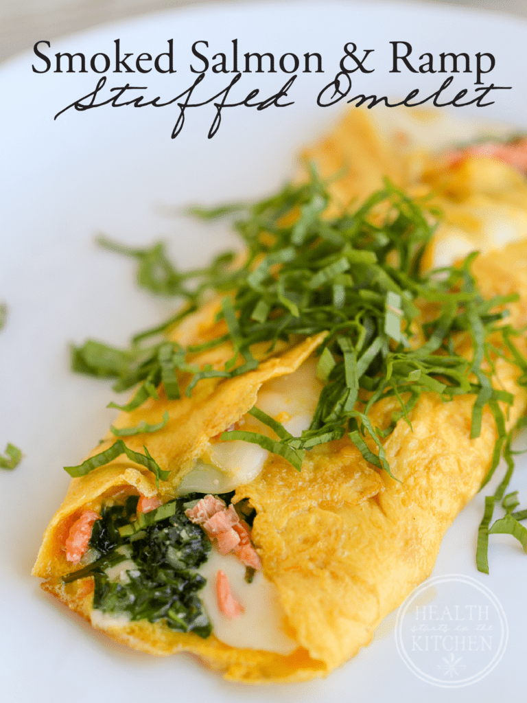 Smoked Salmon and Ramp Stuffed Omelet {Low-Carb, Keto & Primal}