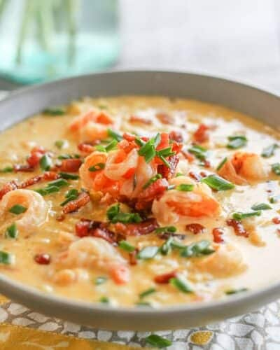 Spicy Shrimp, Corn & Bacon Chowder
