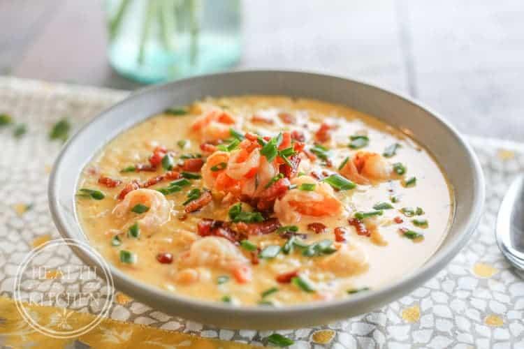 Spicy Shrimp, Corn & Bacon Chowder
