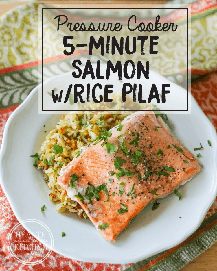 Pressure Cooker Salmon and Rice Pilaf {5 Minute Meal}