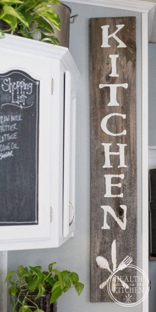 Holiday Kitchen Makeover ($500 Budget) AFTER - DIY Barnwood Kitchen Sign
