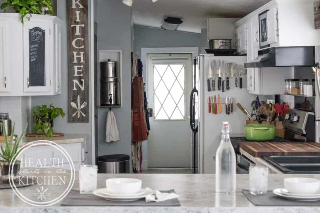 Holiday Kitchen Makeover ($500 Budget) AFTER - Magnetic Knife Bar on Refrigerator