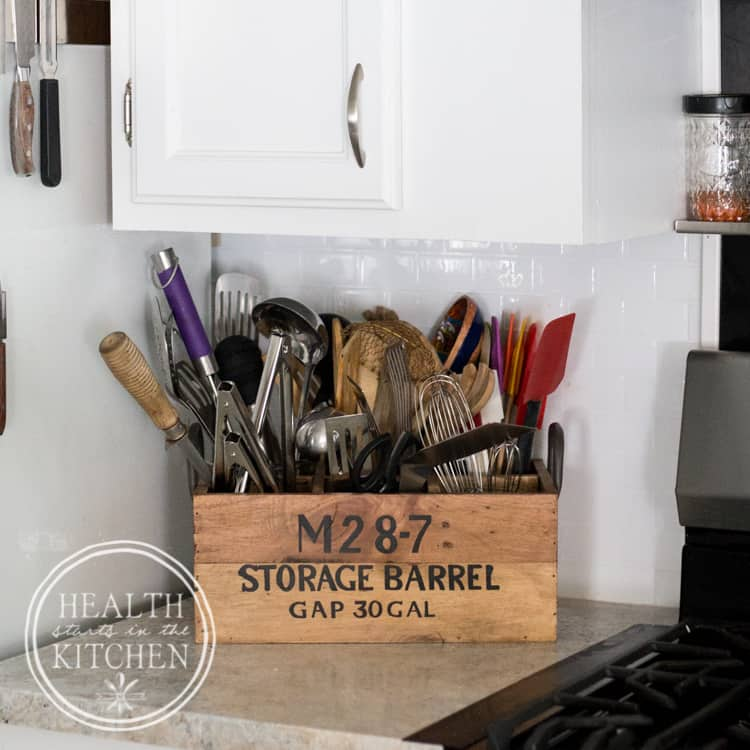 Holiday Kitchen Makeover ($500 Budget) AFTER - Reclaimed Wine Crate Utensil Holder