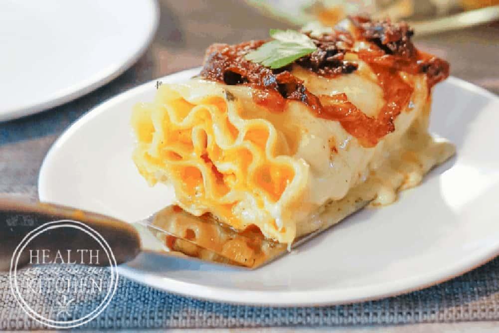 Butternut Squash Lasagna Rollups Caramelized Onions Parmesan Cream