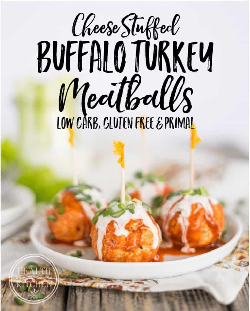 Cheese Stuffed Buffalo Turkey Meatballs {Low-Carb & Primal}