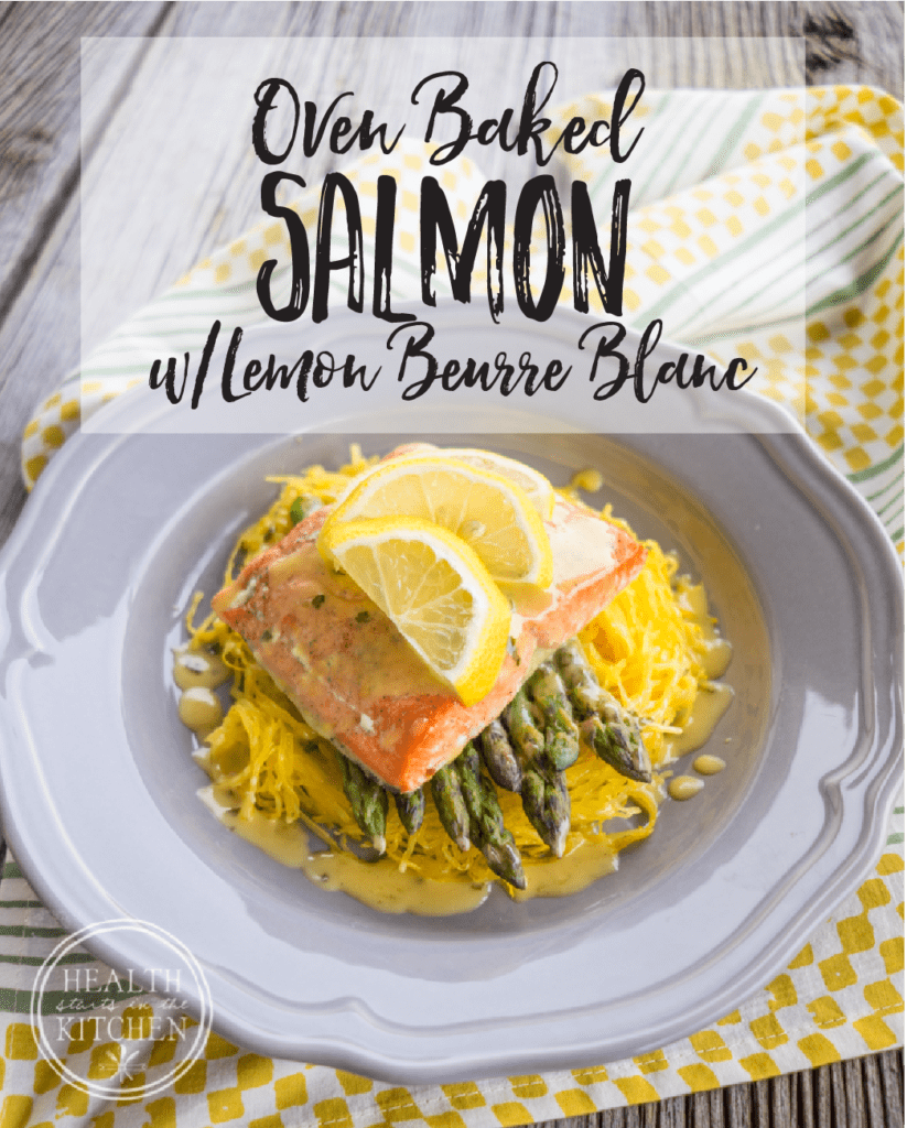 oven baked salmon asparagus & spaghetti squash with lemon beurre