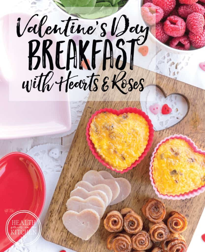 Valentine's Day Breakfast with Heart Omelets & Bacon Roses
