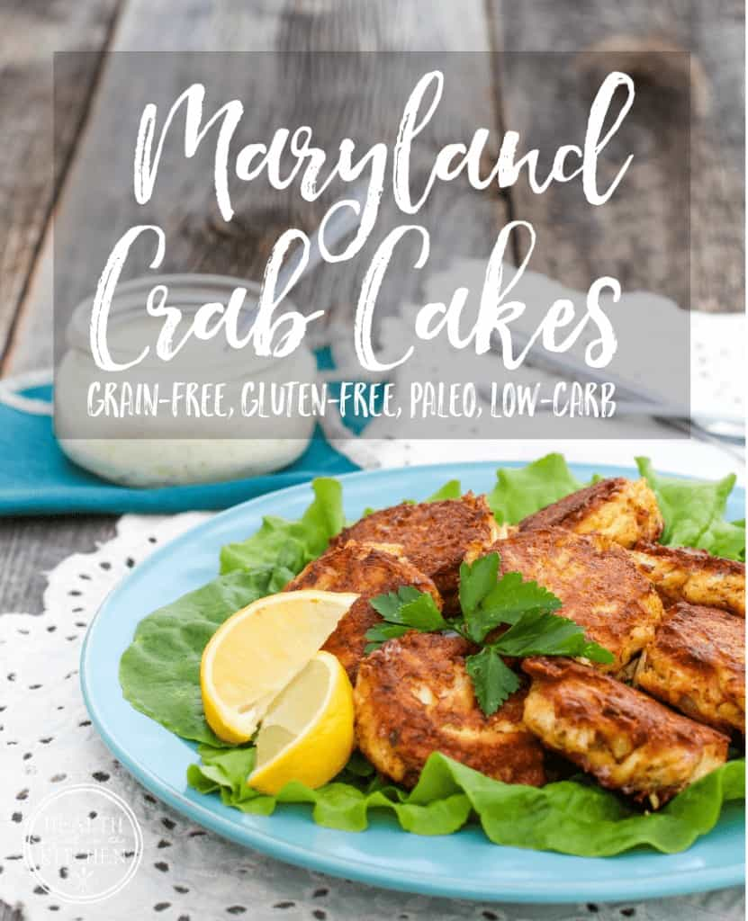 Maryland Crab Cakes with Homemade Tarter Sauce {Paleo, Gluten-Free & Low-Carb)