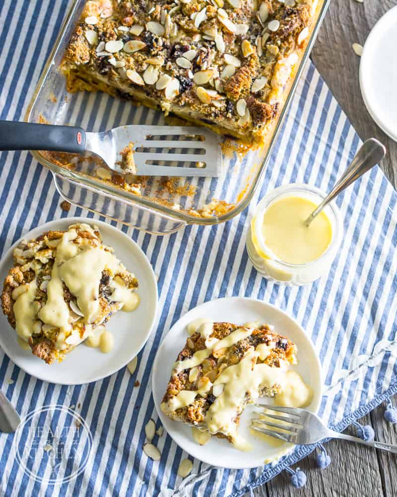 Whole Wheat Blueberry Muffin Cheesecake Bread Pudding