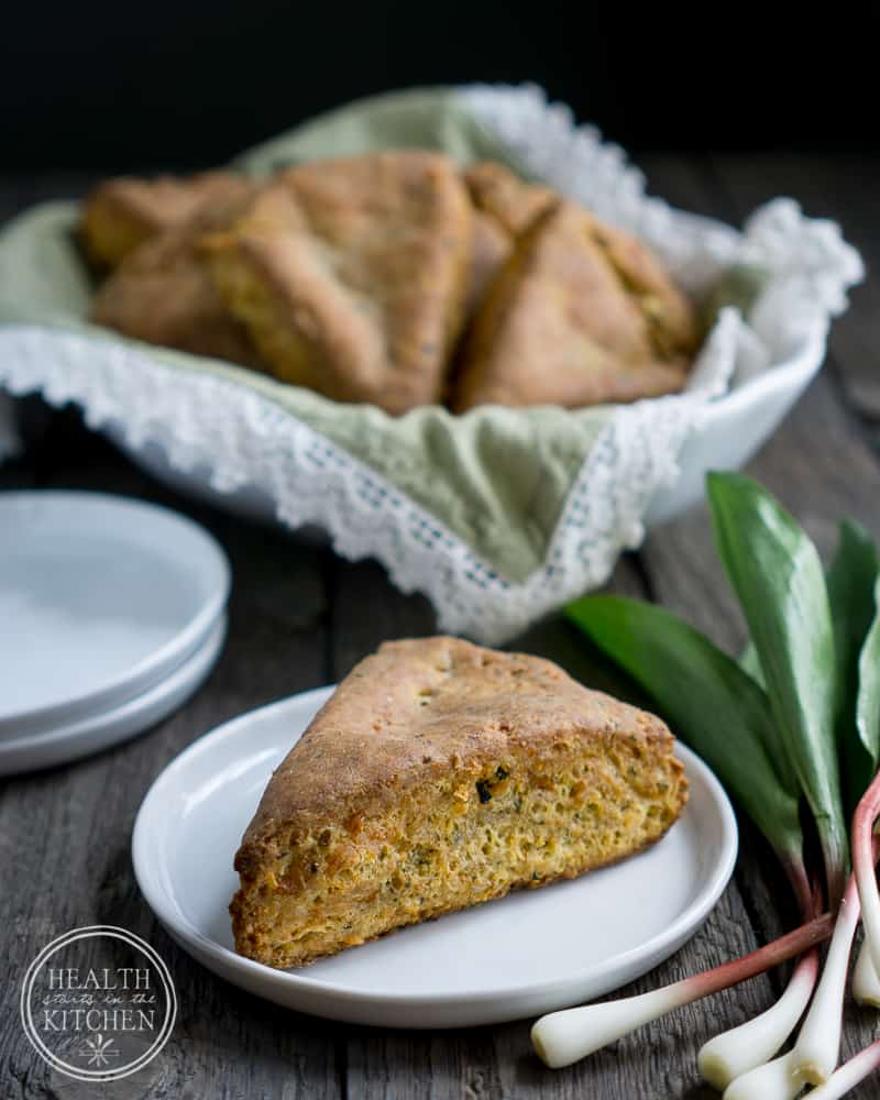Ham Cheddar and Ramp Scones {Gluten-Free}