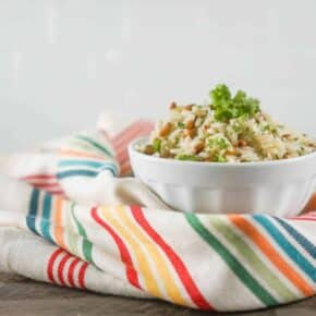 5 Minute Pressure Cooker Rice Pilaf with Parsley and Pine Nuts