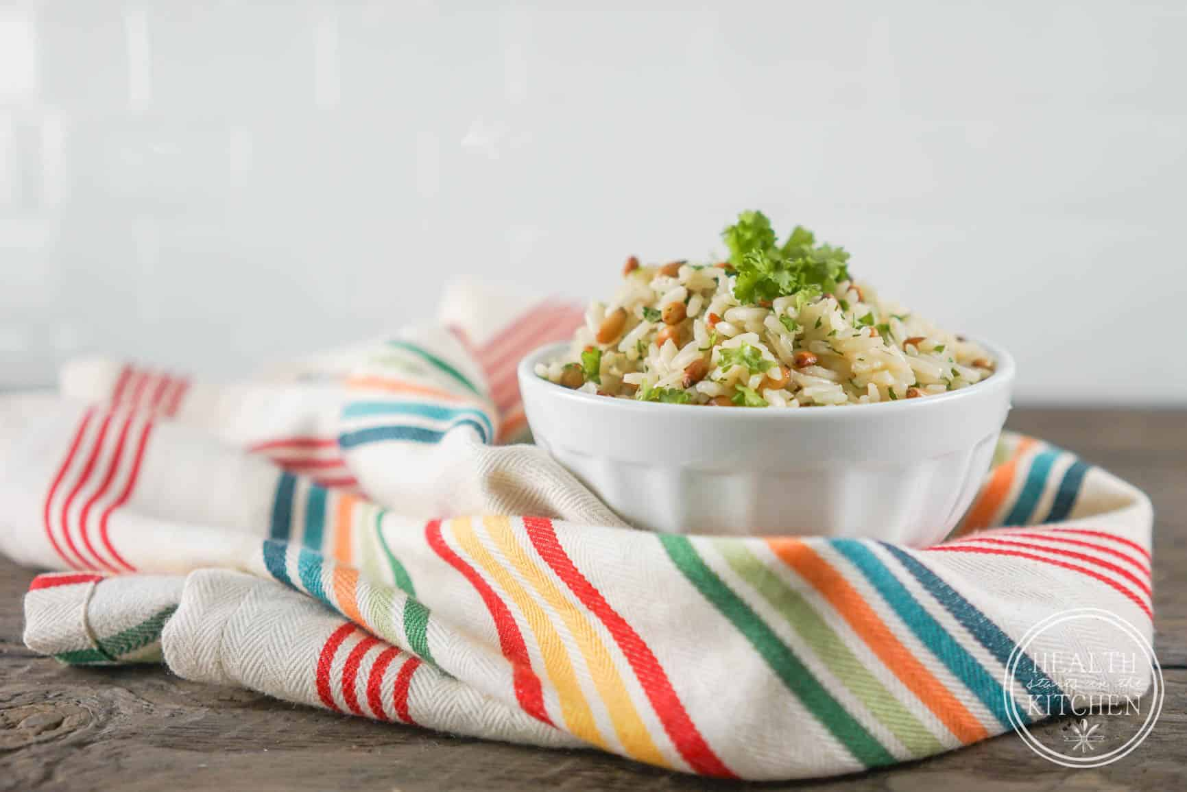 5 Minute Pressure Cooker Rice Pilaf with Pine Nuts and Parsley
