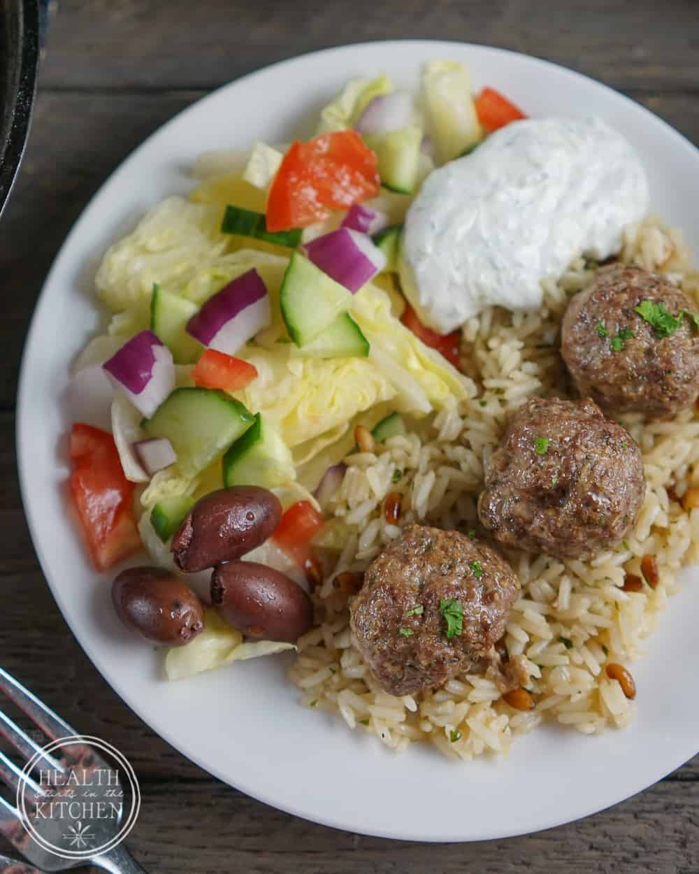 Low-Carb Tzatziki Sauce served with Super Gyro Lamb Meatballs, Rice Pilaf w/Pine Nuts & Parsley and a Greek Salad