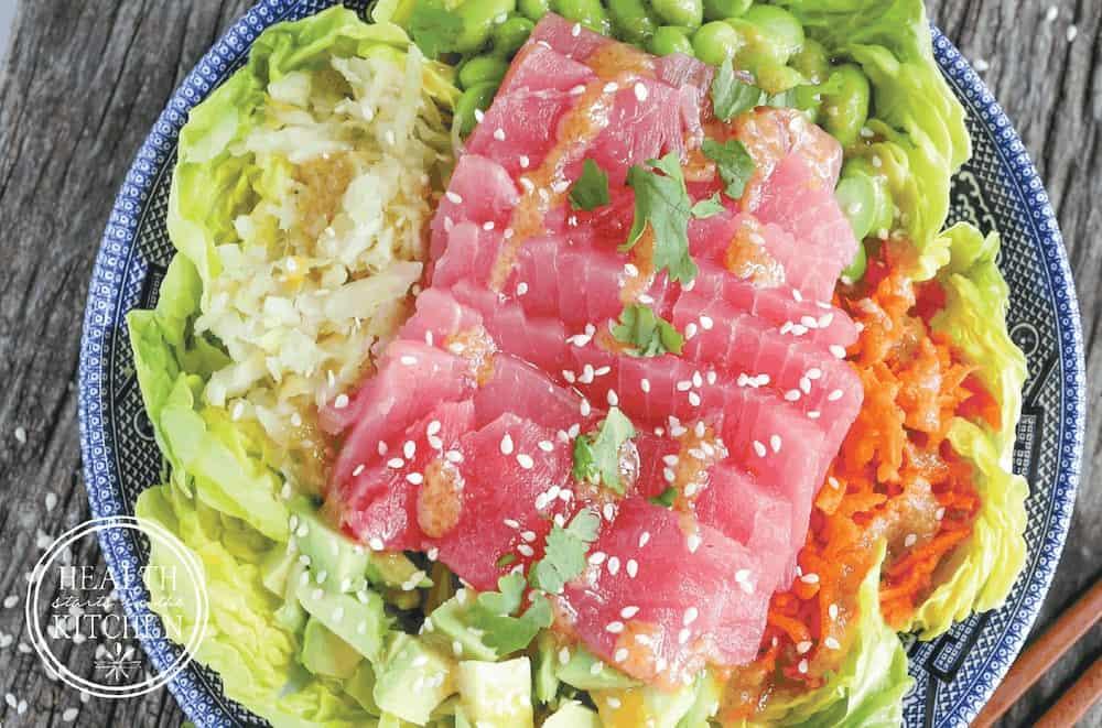 Probiotic Packed Ahi Tuna Salad with Miso Wasabi Dressing