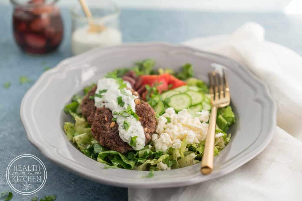 Greek Lamb Burger Bowls {Low-Carb & Primal}