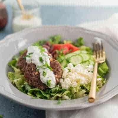 Greek Lamb Burger Bowls {Keto, Low-Carb & Primal}