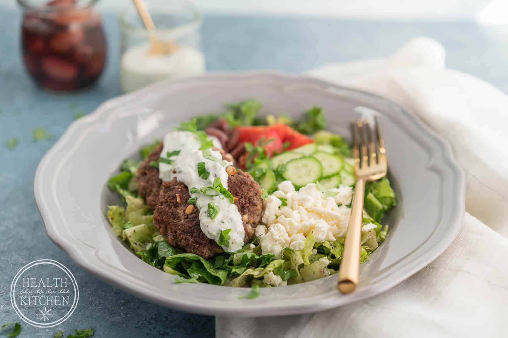 Greek Lamb Burger Bowls {Keto, Low-Carb & Primal} - Health Starts in the Kitchen