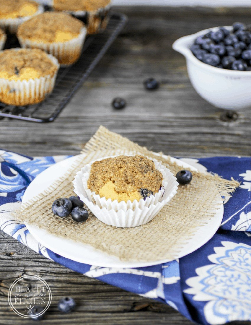 Grain Free Blueberry Muffins with Crumb Topping