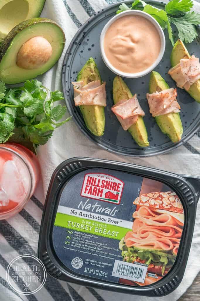 Low-Carb Turkey Wrapped Avocado Wedges w/Sriracha Mayo Dip