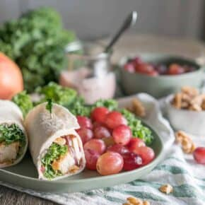 Waldorf Chicken Kale Wraps