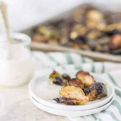 Oven Roasted Crispy Brussels Sprouts with Horseradish Sauce {Keto, Low-Carb & Paleo}