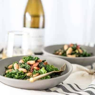 Sautéed Kale with Bacon and White Beans