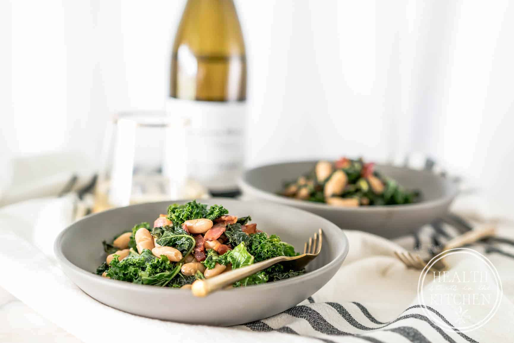 Sautéed Kale with Bacon and White Beans - Health Starts in ...