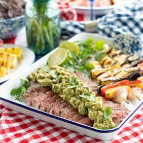 Grilled Guacamole Flank Steak with Hallumi Kebobs