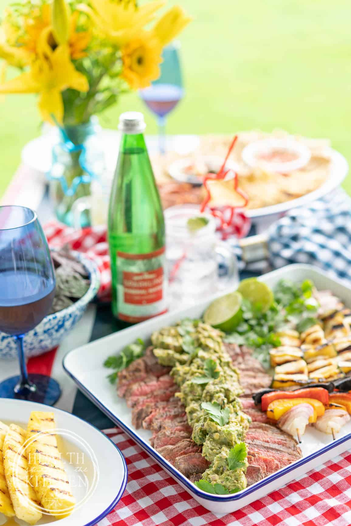 Flank Steak with Grilled Guacamole and Hallumi Kebobs-4