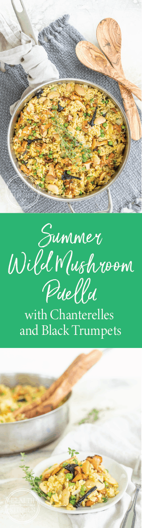 Vegetarian Summer Wild Mushroom Paella with Chanterelles and Black Trumpets
