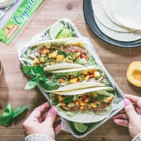 Harvest Month Grilled Pork Tenderloin Soft Tacos with Peach Jalapeno Salsa