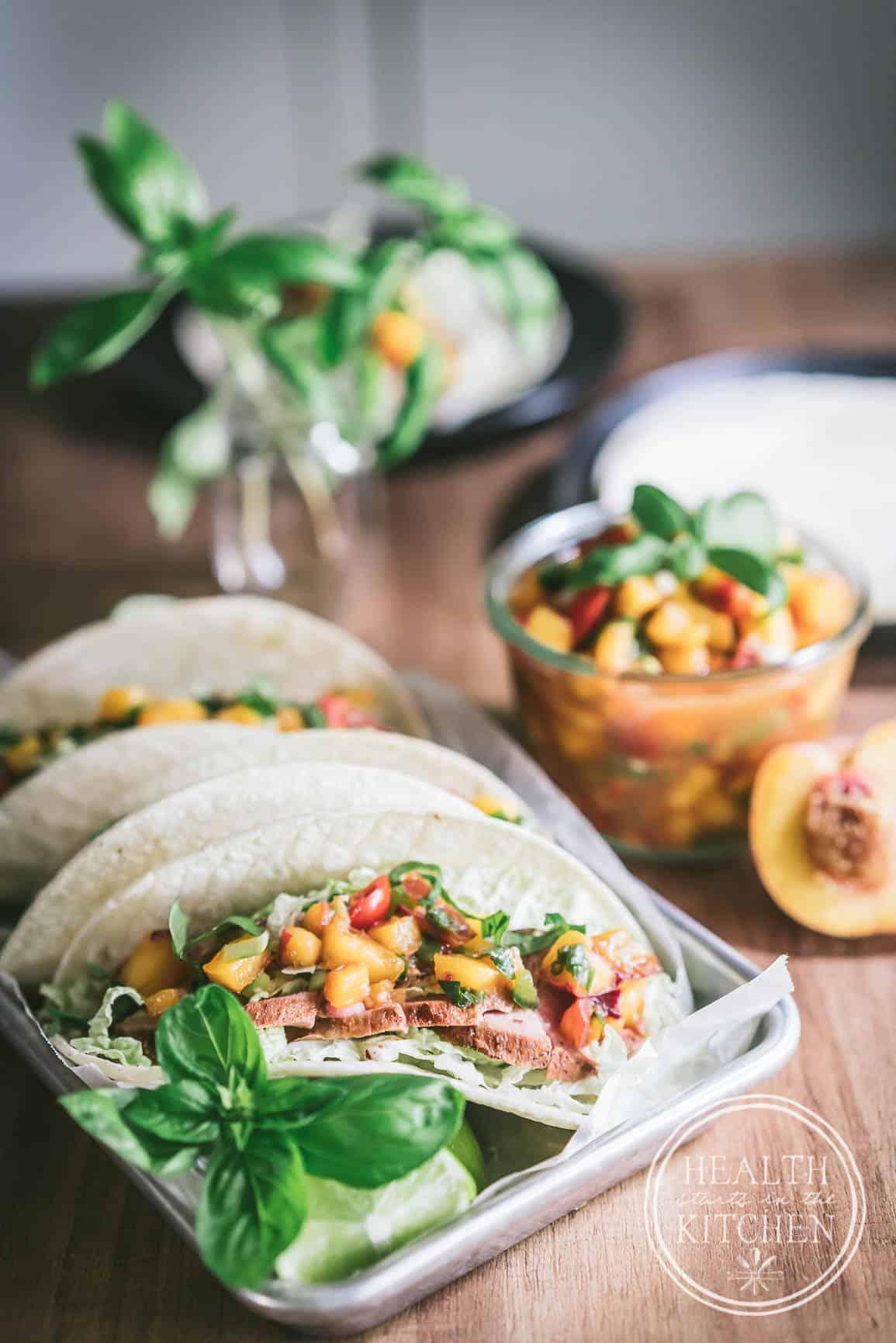 Harvest Month Grilled Pork Tenderloin Soft Tacos with Peach Jalapeno Salsa