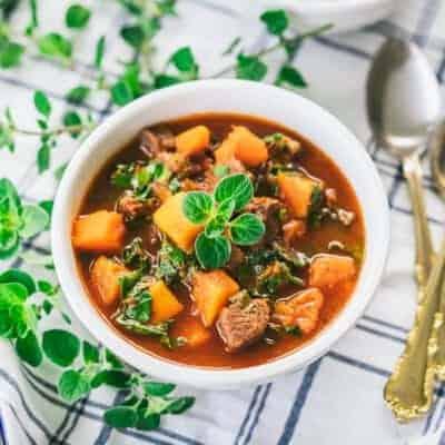 Lamb, Butternut Squash, Kale Goulash {Paleo & Gluten-Free}