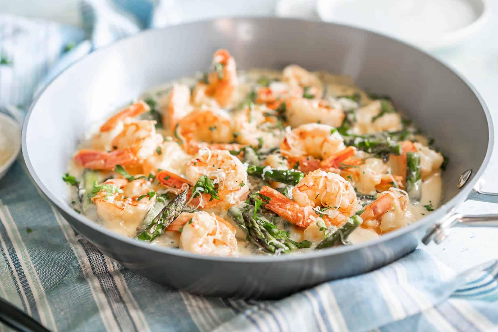 Keto Creamy Asparagus and Shrimp Alfredo {Gluten-Free & Primal}