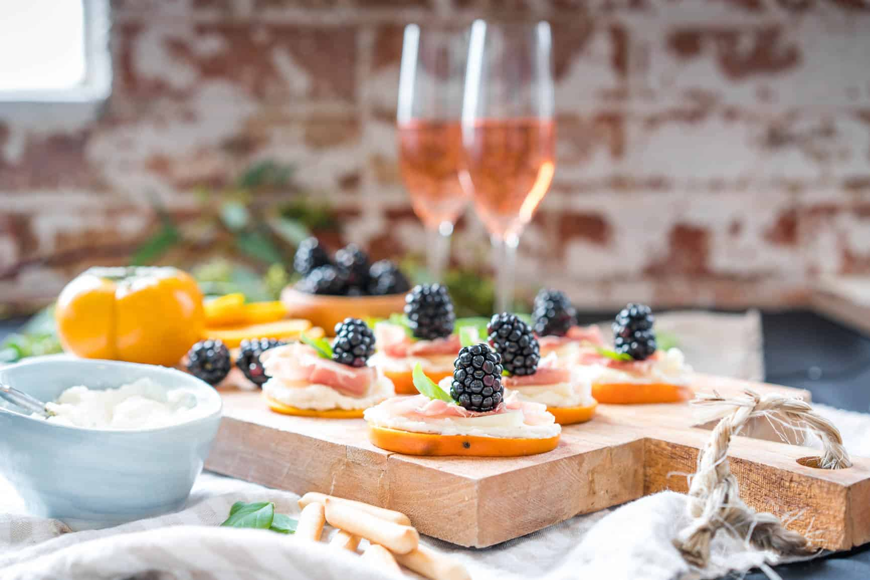 Easy Fuyu Persimmon Prosciutto Appetizers with Ricotta and Blackberries